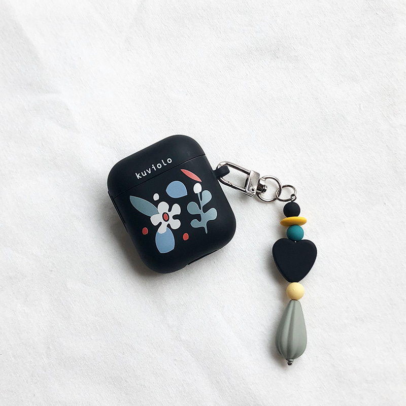 Flowers collage black (Airpods 1,2 tpu)